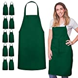12 Pack Bib Apron - Unisex Black Apron Bulk Machine Washable for Kitchen Crafting BBQ Drawing Outdoors By Green Lifestyle (Pack of 12, Green)……