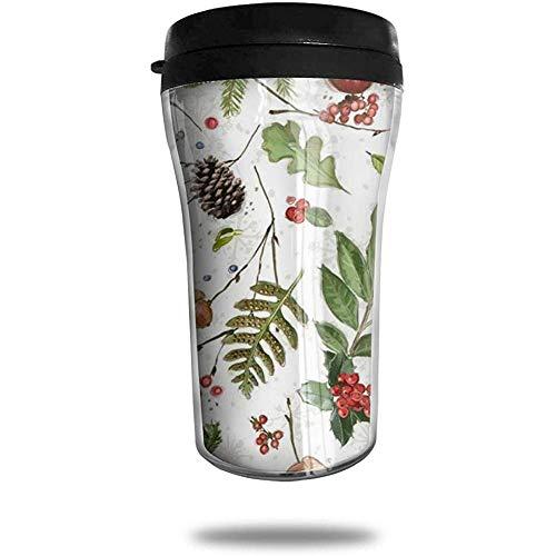 Tannenzapfen Eichhörnchen Liebe es zu essen, Reisen Kaffee-Haferl 3D gedruckt tragbare Saugnapf, isolierte Teetasse Wasserflasche Becher zum Trinken mit Deckel 8,54 oz (250 ml)