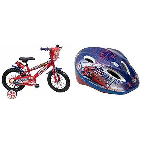 Disney Bicicletta 14' Cars 3, Bambino, Rosso & Caschetto Bici Easy Multicolore