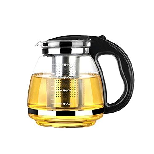 Peakfeng Tetera de Vidrio para el hogar 2000 ml Vidrio Resistente al Calor Jarra Duradera Saludable Tetera de Tetera para el Almacenamiento de té con infusor de té