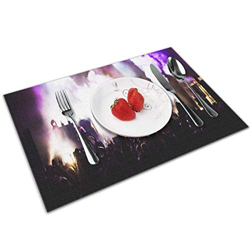 Lou Chapman Placemats Place Mats Sets of 4 Table Mats Washable Mat Heat Resistant Mat for Kitchen Garden BBQ Outdoor Cheer Musical