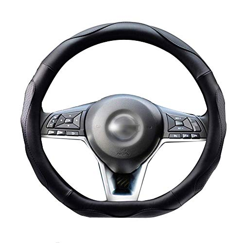 ZATOOTO Cubierta del volante Tipo D - Cubierta de cuero del volante Ajuste del volante de fondo plano Negro