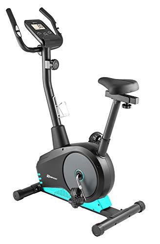 Hop-Sport Spark Heimtrainer Fahrrad - Fitnessgerät für Zuhause mit Pulssensoren & Computer, 8 Widerstandsstufen, Schwungmasse 9 kg - Fitnessbike für EIN max. Nutzergewicht von 120kg Türkis