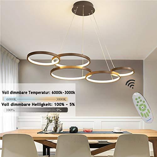 LED Hängeleuchte Esstisch 5-flammig, Dimmbar Rund Pendelleuchte, Höhenverstellbar Esstischleuchte, Wohnzimmer Lampe mit Fernbedienung, Abhängung 100 cm, Aluminium, Acryl-Schirm (5 Ring Leuchte)
