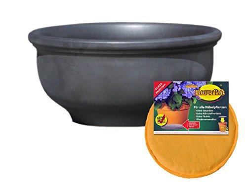 Hentschke Keramik Spar Set: Pflanzkübel + FlowerPad Ø 55 x 27 cm, Anthrazit, 011.055.70 Blumenkübel für Draußen + Innen - Made in Germany