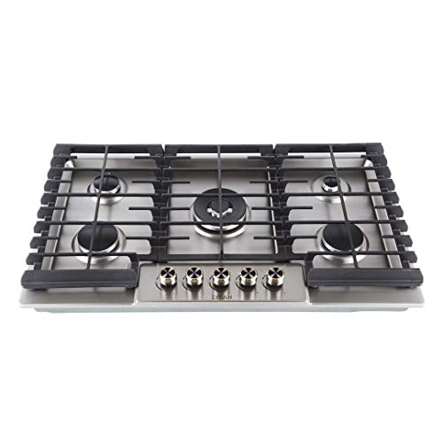 LYCAN Stainless Steel 5 Italy Sabaf Burners 36 Inch Gas Range Cooktops Heavy Duty RV Stovetop with Metal Knobs LP conversion kit included