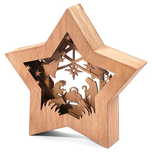 Bright Creations Crèche de Noël en bois en forme détoile (26
