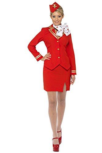 Trolley Dolly 80s Air Stewardess Hostess Cabin Crew Fancy Dress Costume UK 8-20 RED MEDIUM