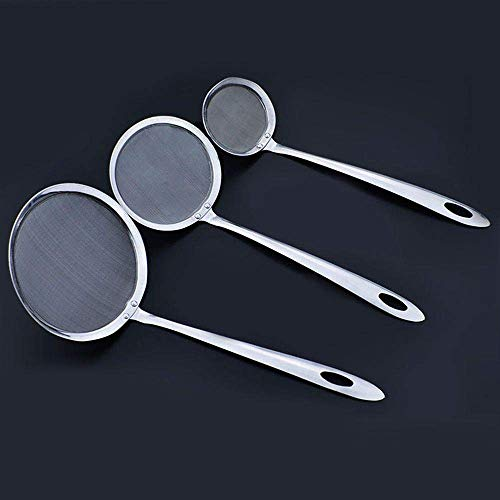 ANNIUP Set of 3 Stainless Steel Skimmer Spoon Cooking Oil Sieve Colander Scoop Fine Mesh Wire Filter Strainer with Long Handle for Fat Grease/Foam Stews Soup Hotpot Frying Blanching Vegetables