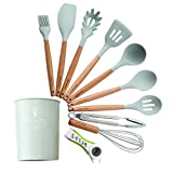Kitchen Utensil Set, Silicone Heat-Resistant Non-Stick Kitchen Utensils Cooking Tools (Green)