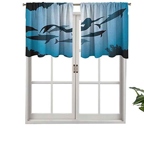 Hiiiman Cenefa de cortina con bloqueo UV, diseño de delfines de sirena, vista subacuática, viajes, aleta de buceo, mar, juego de 2, 137 x 91 cm para habitación de niños