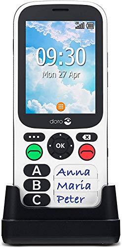 Doro 780X IUP (PLI) Telefono Cellulare 4G per Lavoratori Isolati e Anziani con GPS, Allarme Uomo a Terra, Tastiera Semplificata e Base di Ricarica [Versione Italiana] (Bianco)