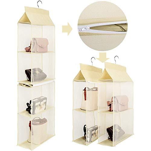 Handtaschen Aufbewahrung, Taschenorganizer Hängende Aufbewahrung mit 4 Slot geeignet für Taschen, klar, zum Aufhängen im Kleiderschrank, Platz sparend, für Wohnzimmer, Schlafzimmer, zu Hause, Beige
