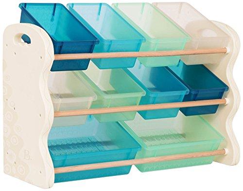 B. spaces – Kinderregal mit Aufbewahrungsboxen Spielzeugaufbewahrung Kinderzimmer aus Holz mit 10 Aufbewahrungsboxen Storage Boxes – Bücherregal Kinderzimmer Mädchen und Jungs Weiß, Blau