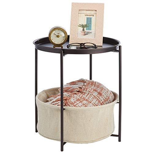 mDesign Beistelltisch mit Ablagekorb – runder Nachttisch mit herausnehmbarem Korb aus Metall und Polyester – moderner Flur- oder Wohnzimmertisch für Bücher, Lampen und mehr – bronzefarben