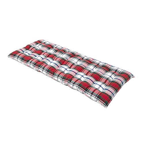 "HOMESCAPES Red Tartan Garden Bench Cushion 2 Seater Seat Pad for Patio Furniture Kitchen or Dining Bench Indoor & Outdoor Use Comfortable 100% Cotton ""Macduff"" Style Thick Cushion 108 cm Wide"