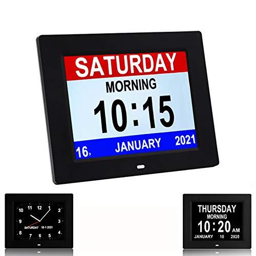 3 Display Digital Day Calendar Clock Non-Abbreviated Day & Month Memory Loss,Dementia,Alzheimer's Vision Impaired Clock for Elderly/Seniors (Black)