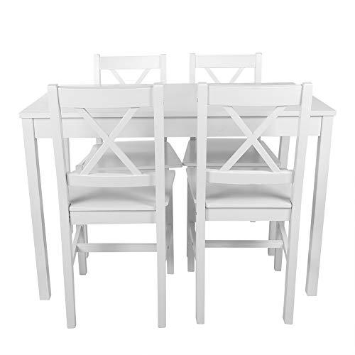 Cocoarm Esszimmergruppe mit Esstisch und 4 Essstühlen Essgruppe mit 1 Tisch 4 Stühle Tischgruppe Esstischgruppe Esszimmergarnitur für 4 Personen