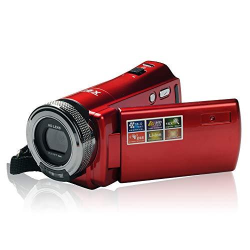 LYXLQ Camcorder, neun Motivprogramme mit Gesichtserkennung 2,7-Zoll-Breitbild-HD-720P-Flash-Digitalvideokamera mit 1600 W-Pixel,Red