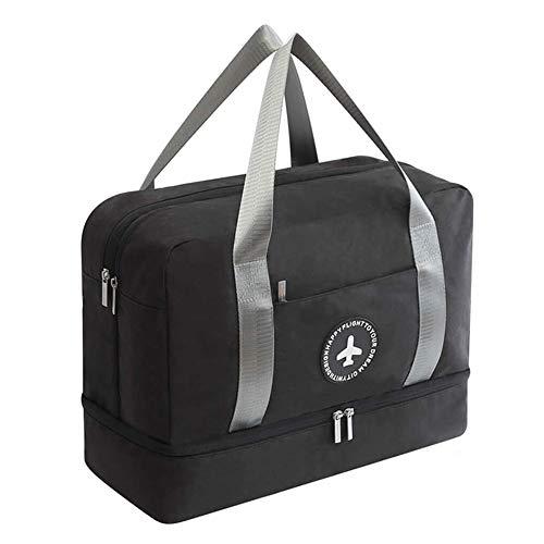 Young & Ming Impermeable Bolsa de Deporte con Compartimento para Zapatos Bolsa de Gimnasio Grande Bolsa de Viaje Bolsa Fin de Semana para Hombre/Mujer, 20L-Negro