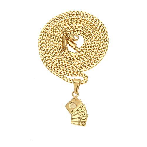 Hip-Hop Edelstahl Spielkarte Anhänger Halskette Akqj10 Pfirsichherz Flush Gerade Persönlichkeit Männlichen und Weiblichen Schmuck Einfache Kreative Gold