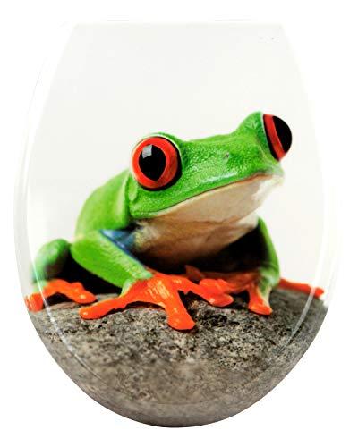P.M. Sareno WC Sitz Klodeckel Toilettendeckel Absenkautomatik Toilettensitz Deckel Duroplast, Absenkautomatik:mit Absenkautomatik, Motiv:Frosch