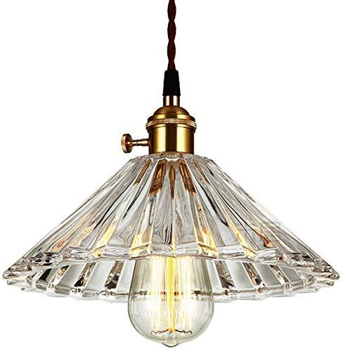 GYC Industrial Vintage Kristallglas Pendelleuchte Plissee Lampenschirm Hängelampe Retro Loft Bar Deckenleuchte für Restaurant