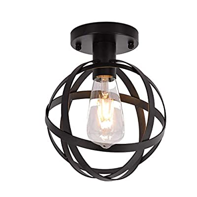 US Stock Industrial Vintage Flush Mount Ceiling Light,Rustic Metal Cage Pendant Lighting Lamp Fixture for Hallway Stairway Kitchen Garage, E27, Black Painting Finish