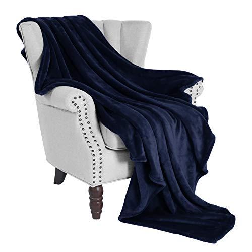 "Exclusivo Mezcla Large Flannel Fleece Velvet Plush Throw Blanket– 50"" x 70"" (Navy Blue)"