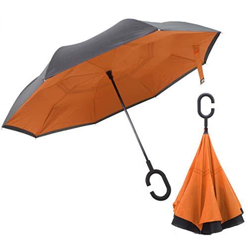 Umgekehrter Regenschirm Doppelschicht Handfrei Automatik Wasserdicht Super winddichter 8-Faser-Schirmrahmen 108cm-Schirmoberfläche C-förmiger, Rutschfester Griff Mehrfarbig optional