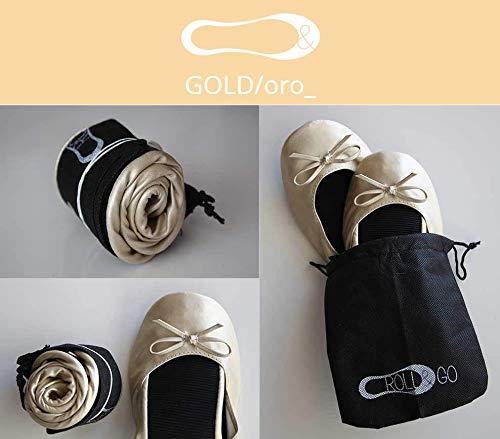 Lote 12 Bailarinas doradas Roll&go Publiclick, fabricadas en cuero sintetico y suela termoplastica, se sirven en tallas surtidas