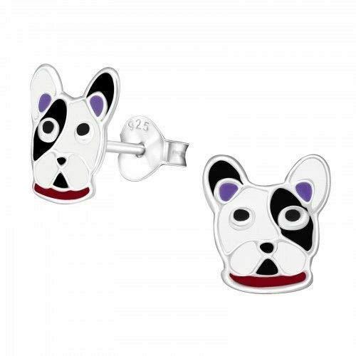 Pendientes de tuerca de plata de ley 925 con diseño de bulldog francés