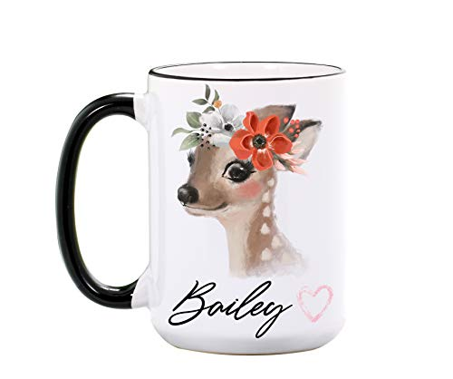 Cute Deer Mug Large 15 or 11 ounce - Personalized Forrest Animal Coffee Cup - Deer Gifts for Women, Her, Friend, Mom, Girls