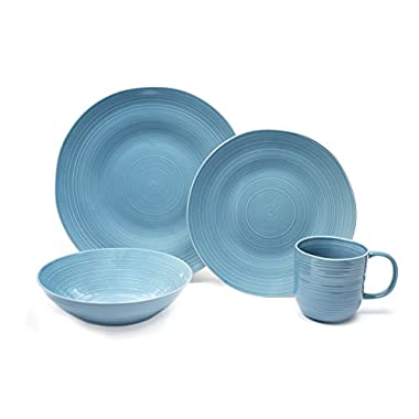 Tablescapes BT23322-16PC 16 Piece Toscano Dinnerware Set, Dusty Blueberry