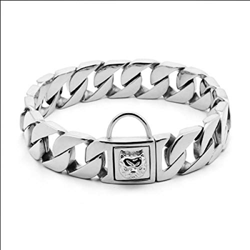 Collar Personalizado para Perros Mascotas Acero Inoxidable Bully Cuello Correa Cadena de Metal Liso de Oro 32 mm Strong Pitbull Bulldog-Collar de 32 mm_Leash32mmx70cm