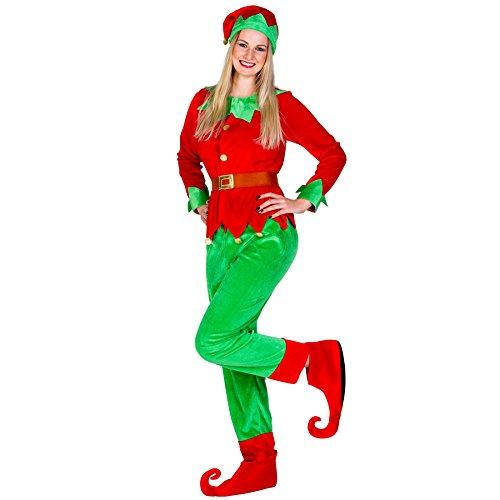 TecTake dressforfun Frauenkostüm Weihnachtselfe | Langarm-Shirt in Jacket-Optik | Bequeme Hose | Schuhüberzieher und Gürtel (XXL | Nr. 300483)