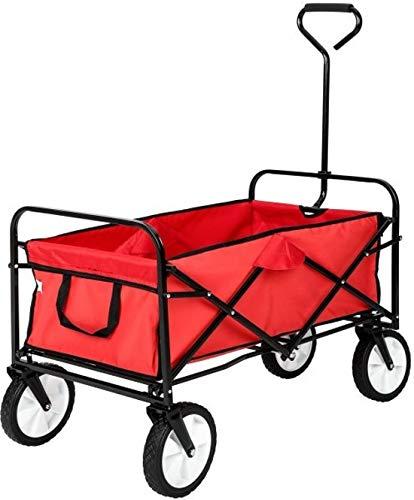 MaxxGarden Bollerwagen - Transportwagen Ausziehbarer Griff Handwagen Transportkarre Faltbar Gartenwagen Gerätewagen - 93x53x64 cm - Rot