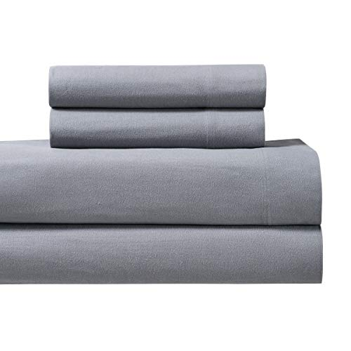 Royal Tradition Heavyweight Flannel 100 Percent Cotton Twin Extra Long XL 3PC Bed Sheets Set Grey 170 GSM