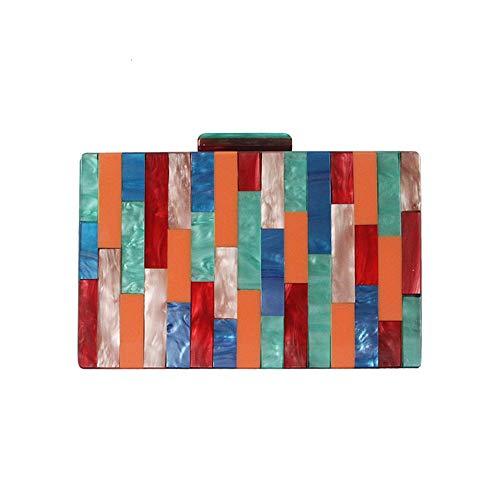 Lxc Farbe Plaid Stitching Box Tasche Acryl Damen Clutch-Bag Fashion Einzel-Schulter-Kurier-Beutel Hochzeit Personality Abendtasche (18 * 4.5 * 11cm) edel