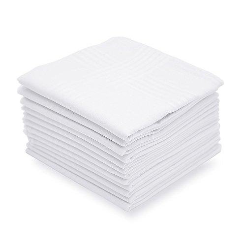 Men's Handkerchiefs,100% Soft Cotton,White Classic Hankie Pack of 12