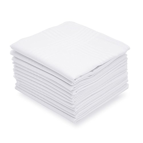Selected Hanky Men's Handkerchiefs 100% Cotton White with Stripe 6 Pack Hankies