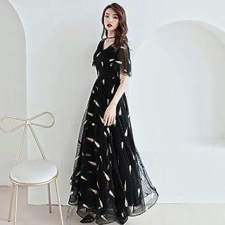 مساء فستان مأدبة أسود مزاجه طويل المضيف اليومي يمكن ارتداء فستان عيد ميلاد XL 黑色长款