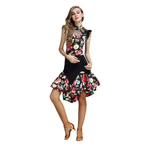 Vrouwelijke volwassenen latin dans pak jas + rok spandex druk oefenkleding