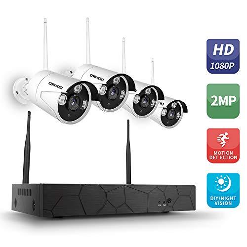 OWSOO IP Camera Set 1080P HD, Wireless NVR Kit 4CH Beveiliging CCTV bewakingssysteem WiFi Security Camera 4CH 1080P HD Monitor Night Vision P2P Bewegingsherkenning