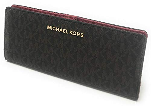 Michael Kors Jet Set Travel Flat Slim Bifold Saffiano Leather Wallet (Scarlet)