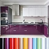 KINLO Papel de Cocina púrpura 80x500cm de PVC Adhesivo para Armario Cocina Papel Adhesivo para Muebles Papel Impermeable Autoadhesivo para Armario de Cocina Papel Decorativo con Brillo