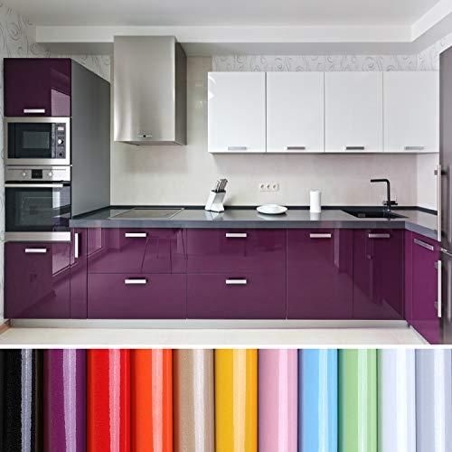 KINLO Carta da parati cucina lilla 80 x 500 cm (4 m2) in PVC pellicola adesiva impermeabile per mobili, pellicola autoadesiva per armadi credenze cucina cucina pellicola con glitter