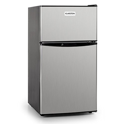 Klarstein Big Daddy Cool - Mini-Kühlschrank, Kühl- und Gefrierkombination, Minibar, 61 Liter Volumen, 24 Liter Gefrierfach, 2 Glas-Ablagen, Gemüsefach, Edelstahl, silber