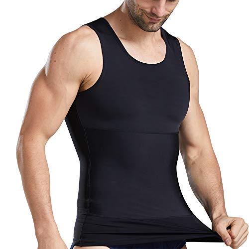 Mens Compression Undershirt Slimming Body Shaper Tummy Control Vest Elastic Gynecomastia Shirt, Black, XL