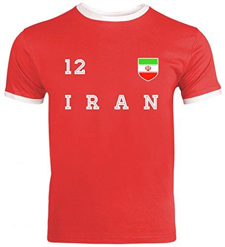 Wappen Fußball WM Fanfest Gruppen Herren Männer Ringer Trikot T-Shirt Trikot Iran, Größe: S,Red/White